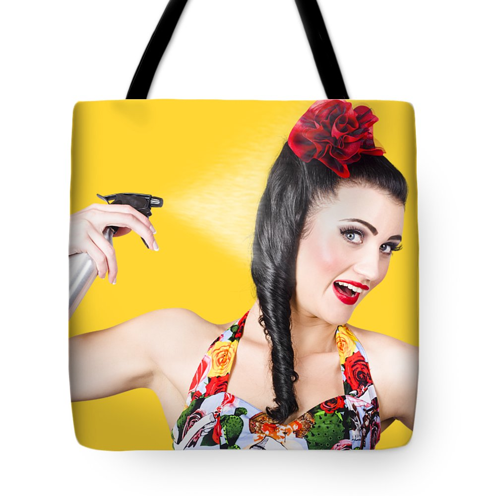 Hair Tote Bag featuring the photograph Haircare. Brunette Pinup Woman Using Hair Product by Jorgo Photography - Wall Art Gallery