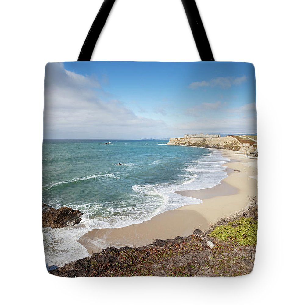 Water's Edge Tote Bag featuring the photograph Half Moon Bay California by Stevegeer