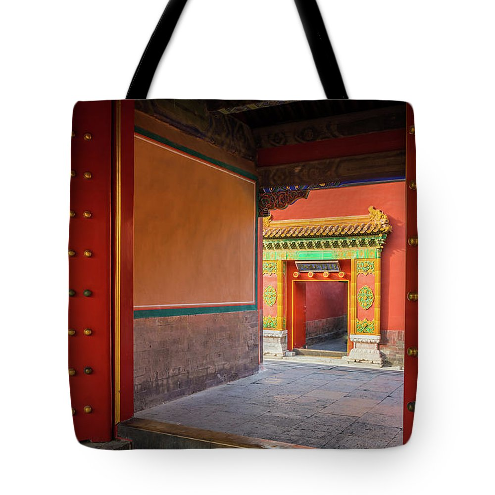 Asia Tote Bag featuring the photograph Hall Of Earthly Tranquility by Inge Johnsson