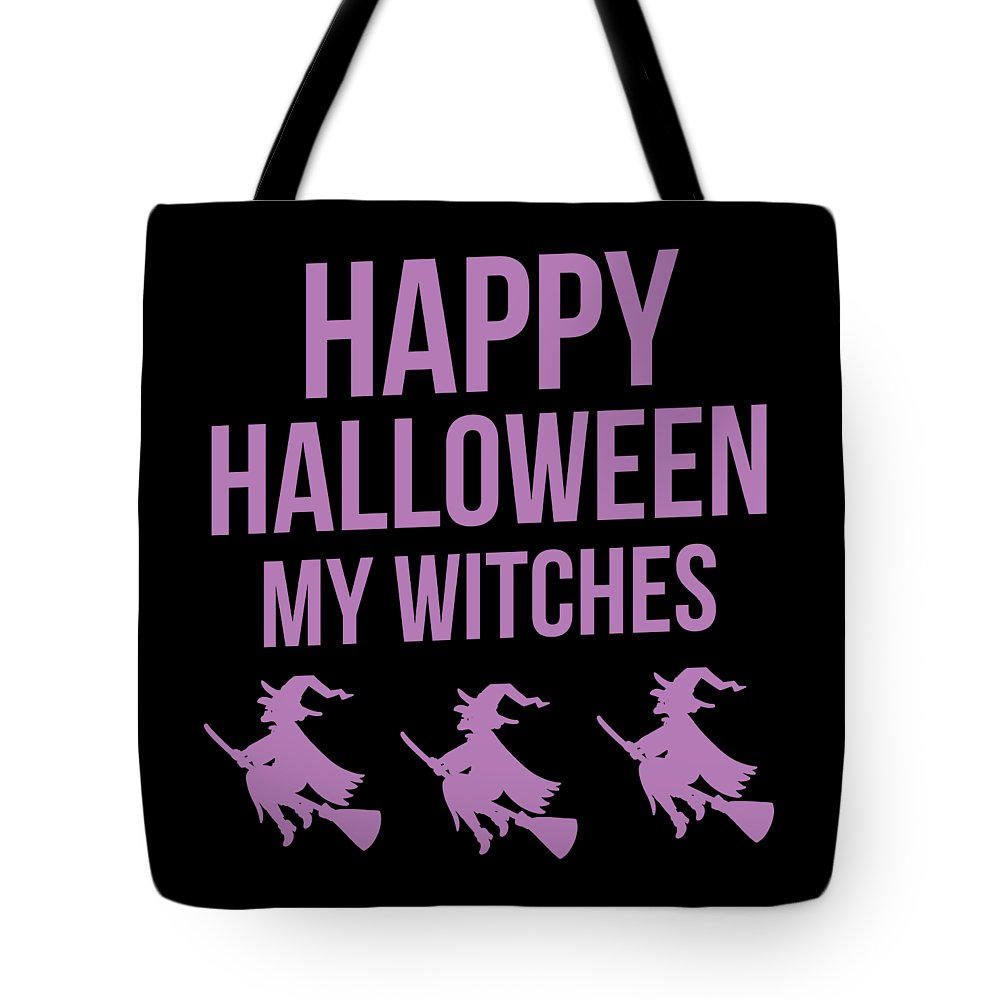 Halloween-costume Tote Bag featuring the digital art Halloween Shirt Happy Halloween Witches Gift Tee by Haselshirt