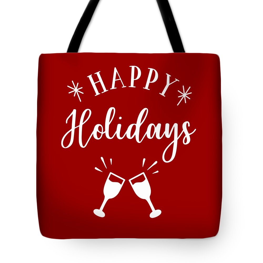 Christmas Tote Bag featuring the digital art Happy Holidays by Print My Mind