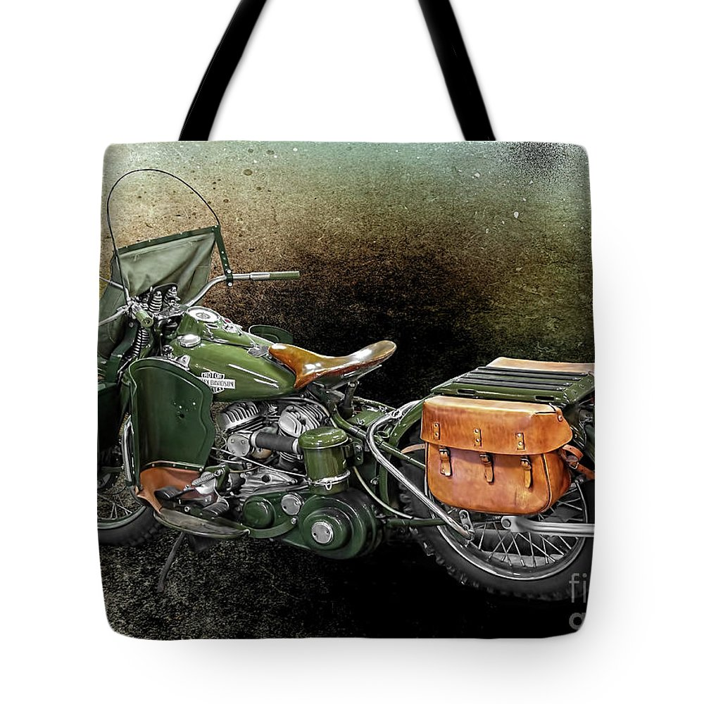Harley Davidson Tote Bag featuring the photograph Harley Davidson 1942 Experimental Army by Barbara McMahon