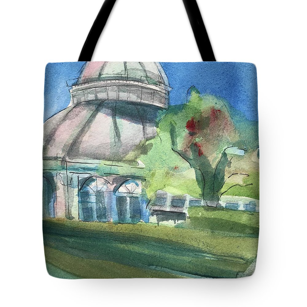 Haupt Conservatory Tote Bag featuring the painting Haupt Conservatory At Nybg by Lynne Bolwell
