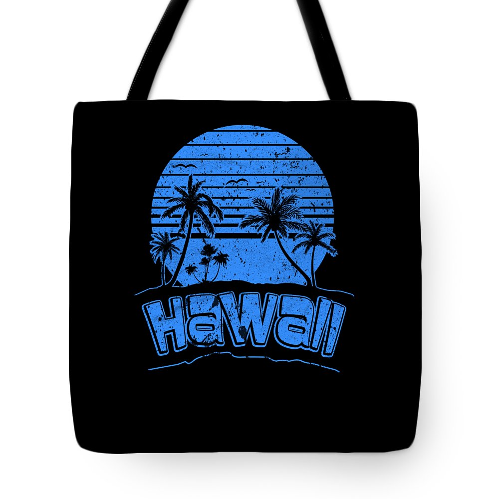 1980s-shirt Tote Bag featuring the digital art Hawaii Sunset Beach Vacation Paradise Island Blue by Henry B