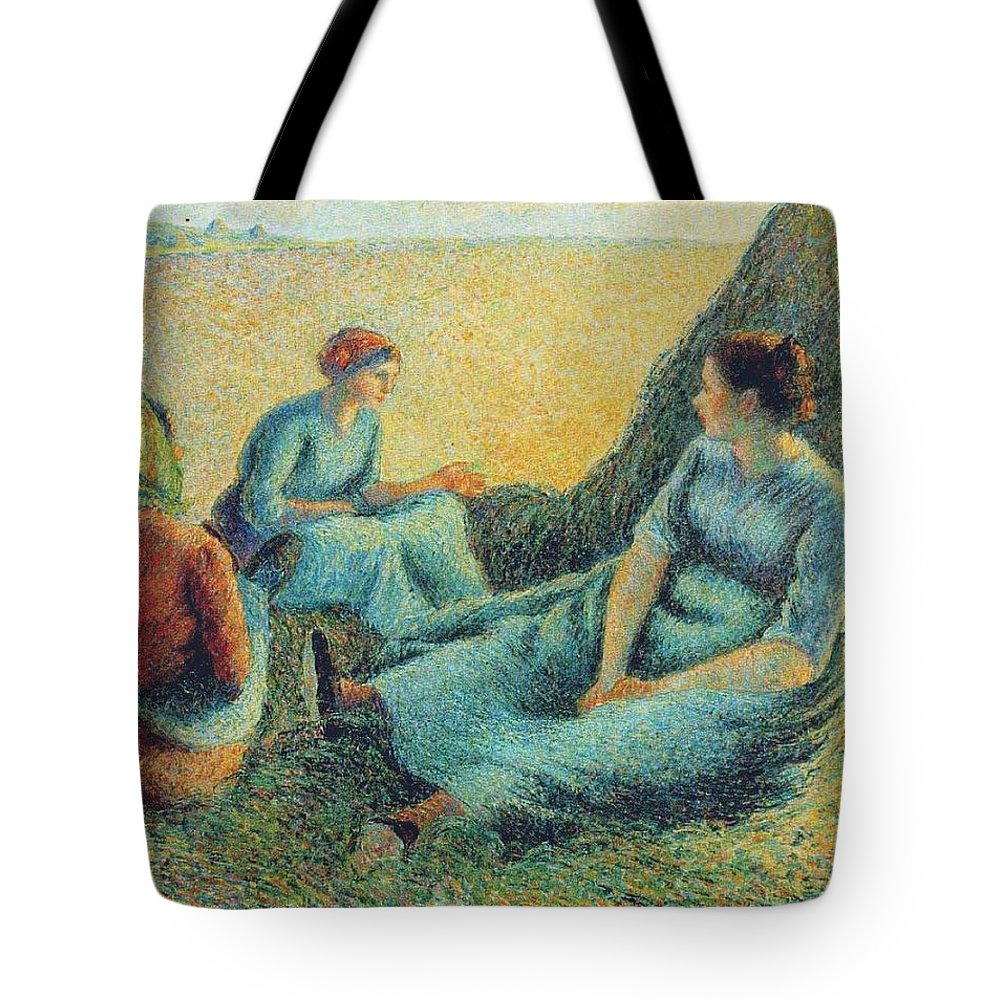 Camille Pissarro Tote Bag featuring the painting Haymakers Resting, 1891 by Camille Pissarro