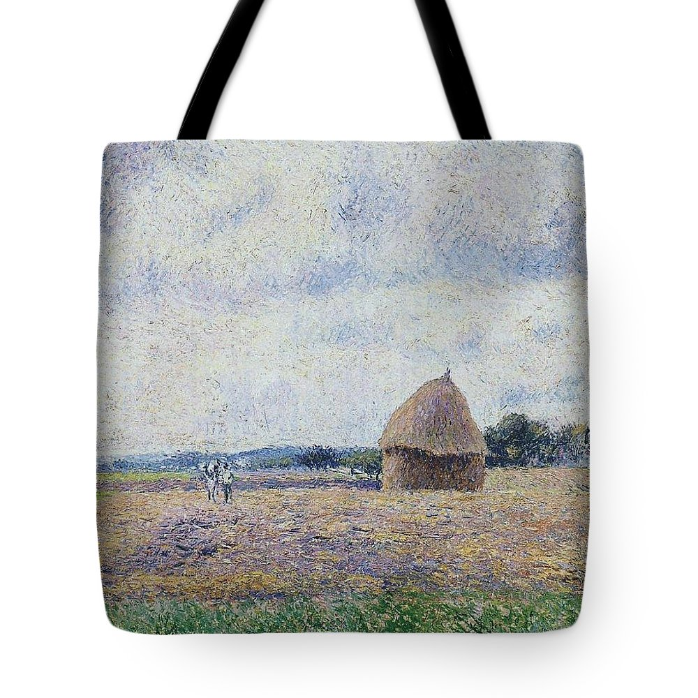 Camille Pissarro Tote Bag featuring the painting Haystack- Eragny, 1895 by Camille Pissarro