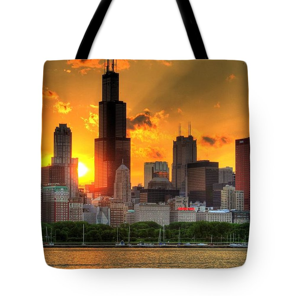 Tranquility Tote Bag featuring the photograph Hdr Chicago Skyline Sunset by Jeffrey Barry