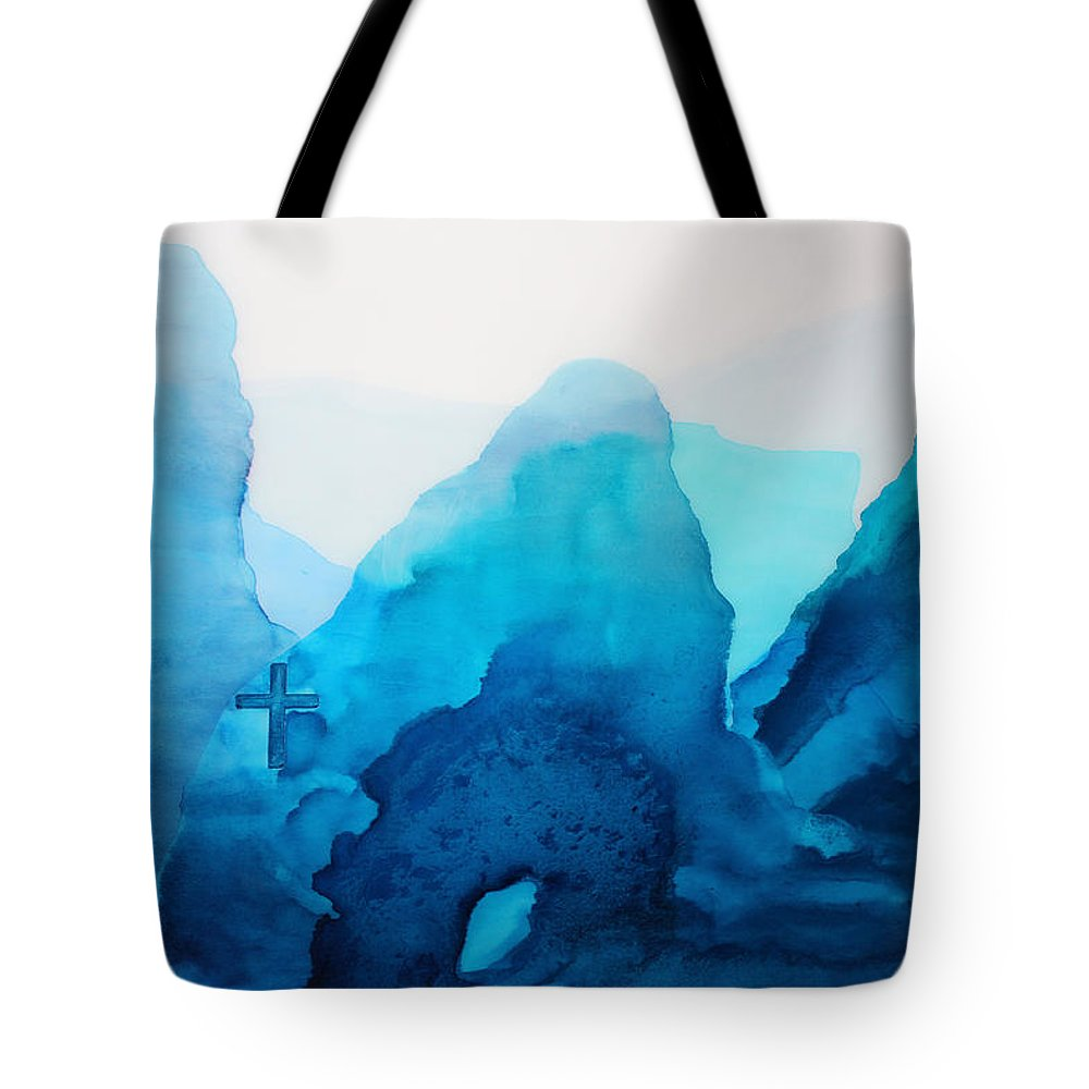 Alcohol Ink Blue Royal Navy White Cross Water Waves Wave Waters Ocean Sea Oceans River Rivers Lake Lakes Stream Mountains Mountain Range Hillside Jesus Faith Christian God Angels Easter Crosses Forgiveness Forgive Spirit Angel Modern Abstract Contemporary Religious Zen Peaceful Tranquil Calming Calm Grace Storm Tote Bag featuring the painting He Is Among Us by Kelly Gowan
