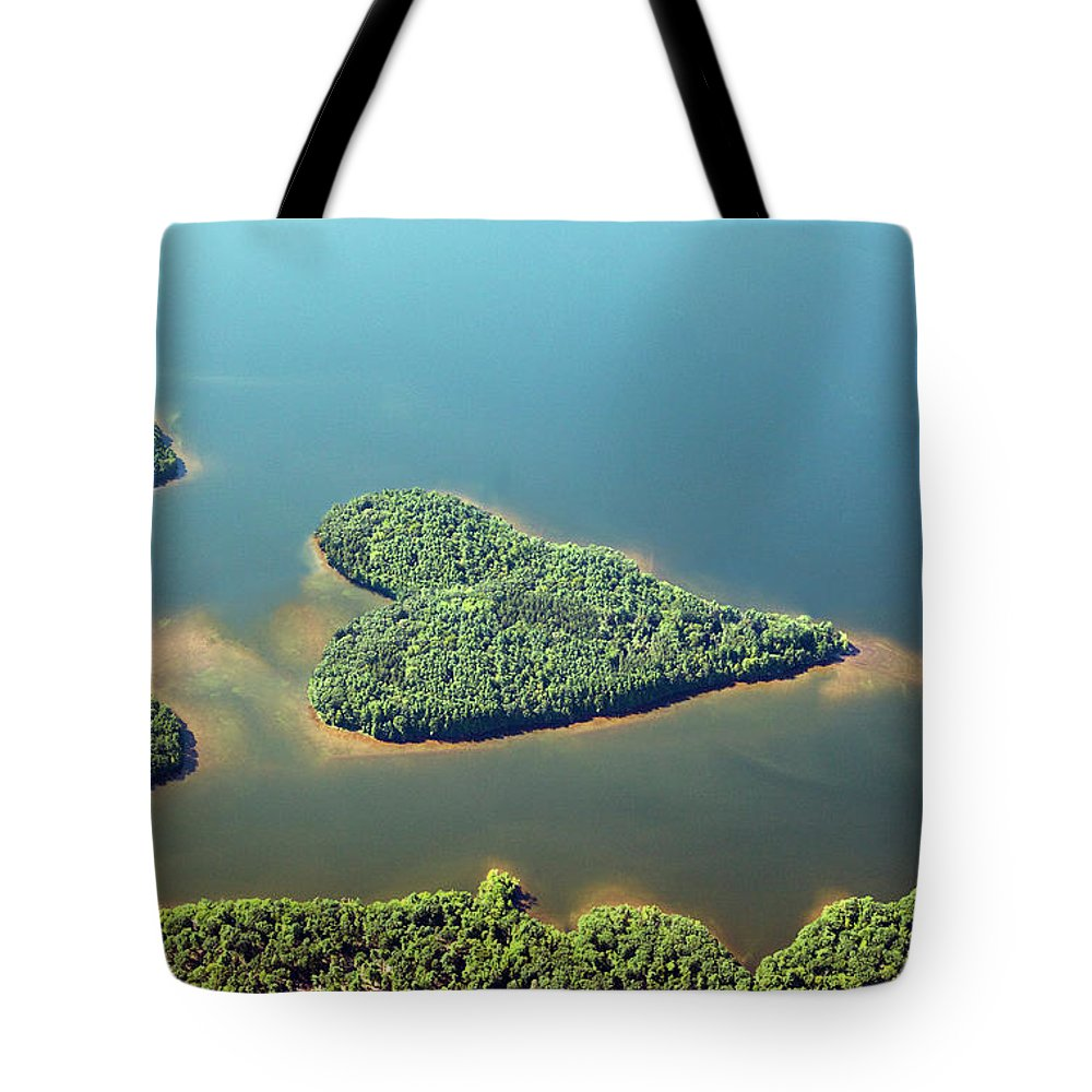 Outdoors Tote Bag featuring the photograph Heart-shaped Island In Lake by Thomas Jackson