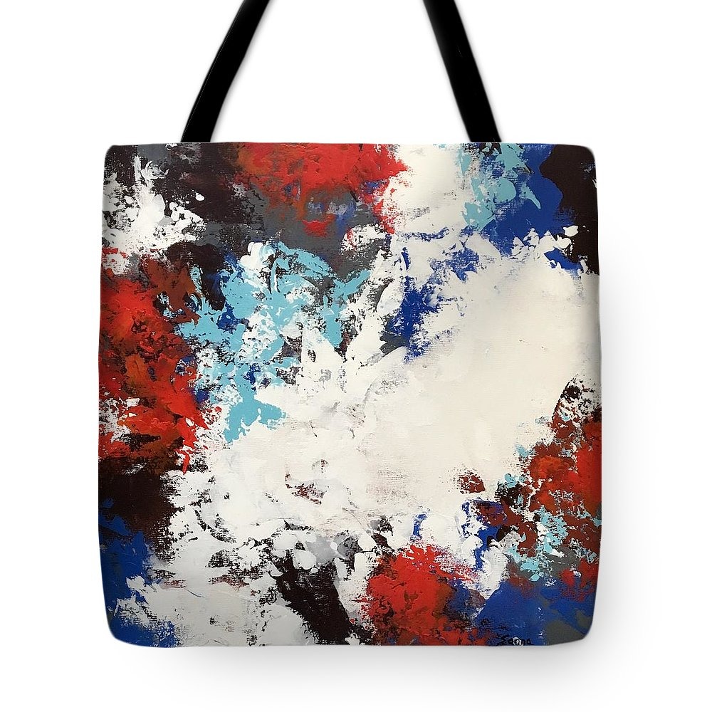 Abstract Painting Acrylic Tote Bag featuring the painting Hello Red by Suzzanna Frank