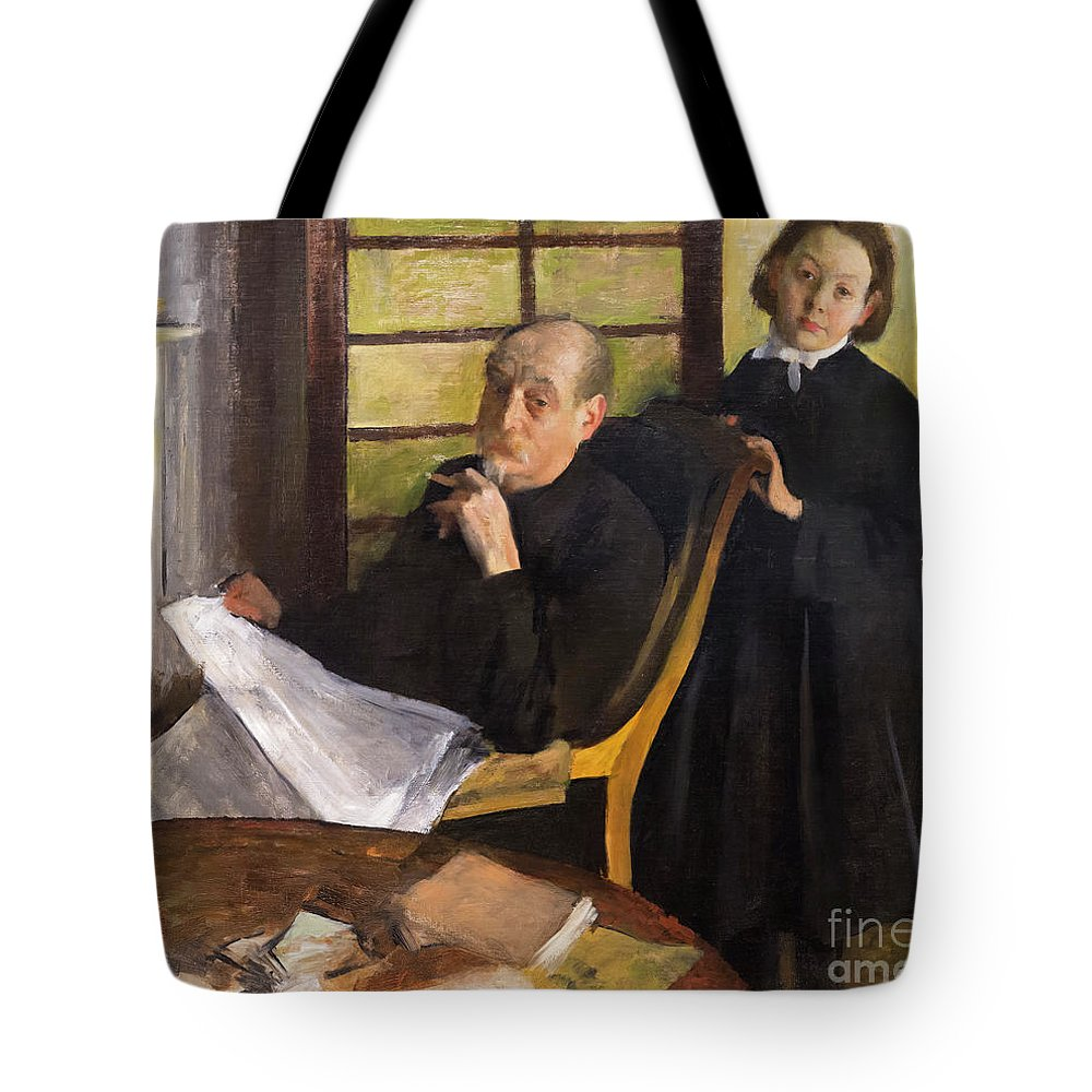 1875-1876 Tote Bag featuring the photograph Henri Degas And His Niece Lucie Degas by Peter Barritt