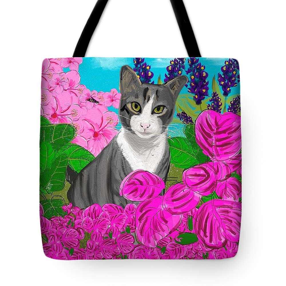 Cats Tote Bag featuring the digital art Hercules In The Garden by Marvin Campbell