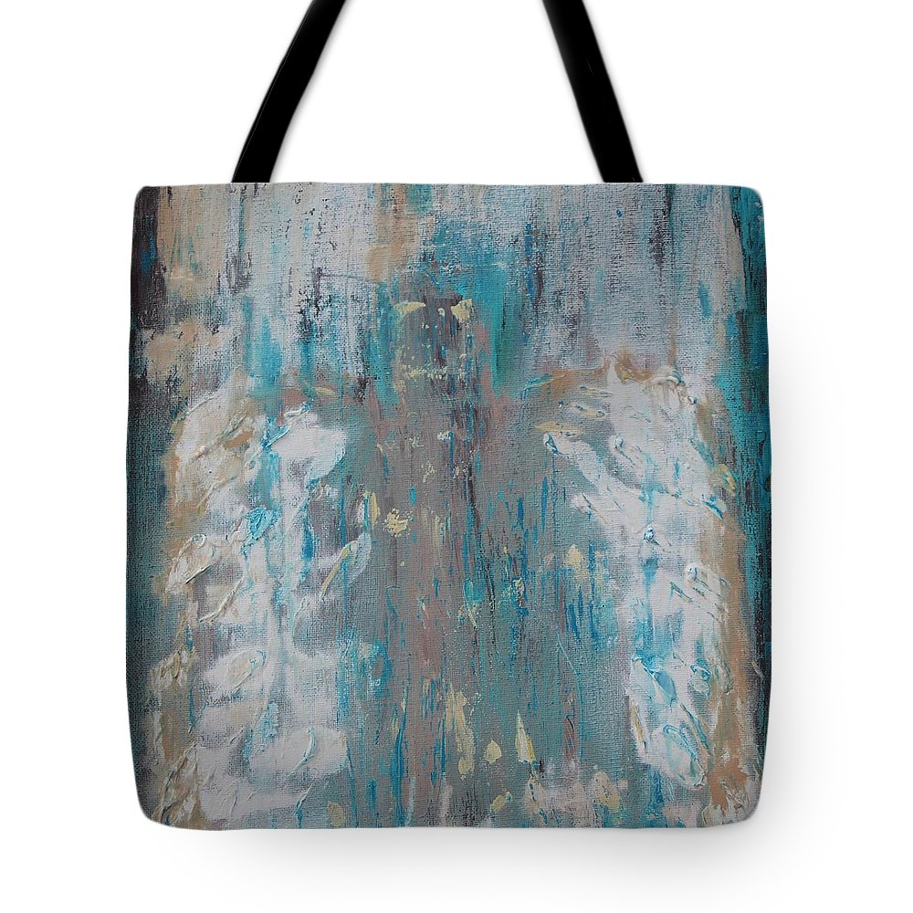 Angel Hidden Abstract Angels Faith God Heaven Heavenly Blue Turquoise Tan White Modern Guardian Tote Bag featuring the painting Hidden Always Angel by Kelly Gowan