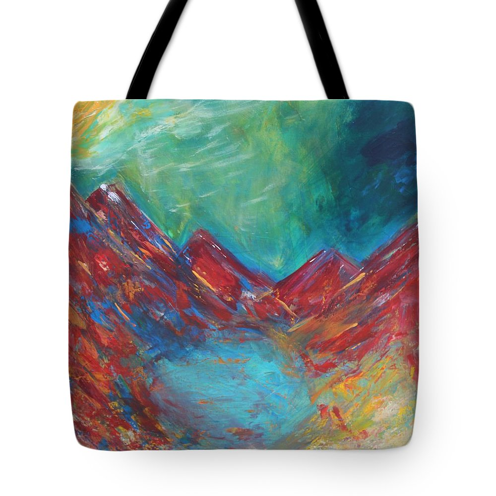 Modern Contemporary Abstract Lake Mountains Taos New Mexico Ski Northern Lights Mountain Hill Rainier Aurora Camping Auroras Polar Lights #taos #mountains #northernlights #aurora #mountains #lake Tote Bag featuring the painting Hidden Taos by Kelly Gowan