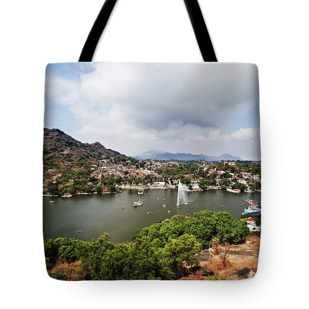 Tranquility Tote Bag featuring the photograph High Angle View Of Fountain In Nakki by Uniquely India