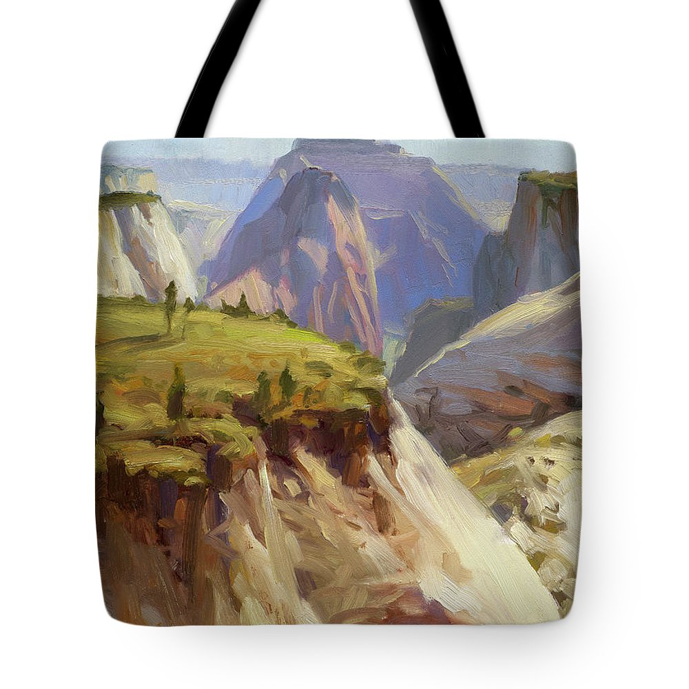 Zion Tote Bag featuring the painting High On Zion by Steve Henderson