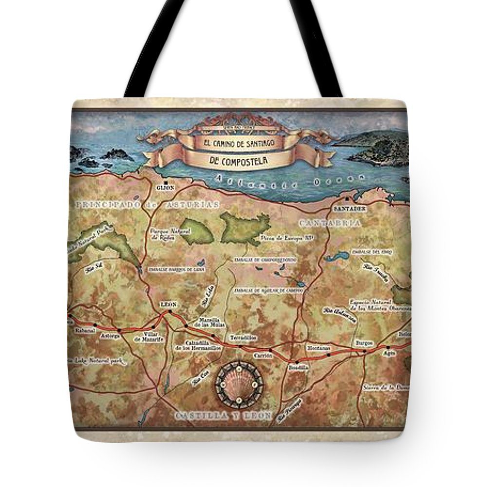 Hiking Map Tote Bag featuring the painting Hiking Map El Camino Spain Map Custom Map Art by Lisa Middleton