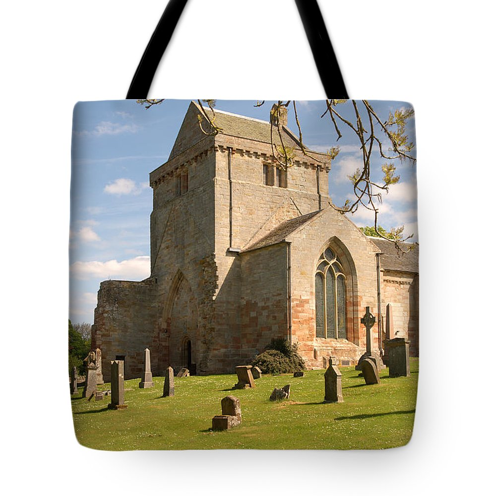Tower Tote Bag featuring the photograph historic Crichton Church and graveyard in Scotland by Victor Lord Denovan
