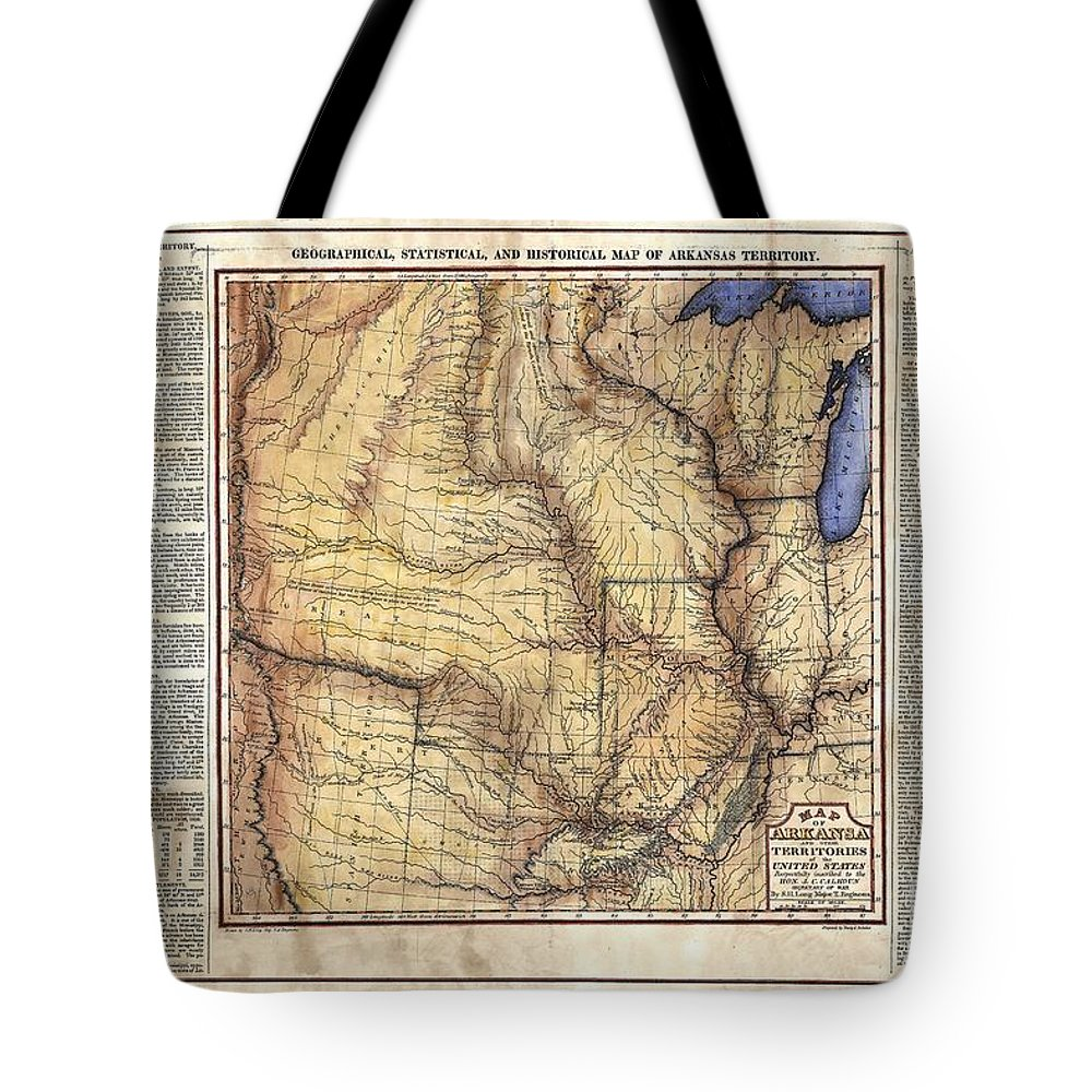 Historical Map Tote Bag featuring the painting Historical Map Hand Painted Arkansaws Territory by Lisa Middleton