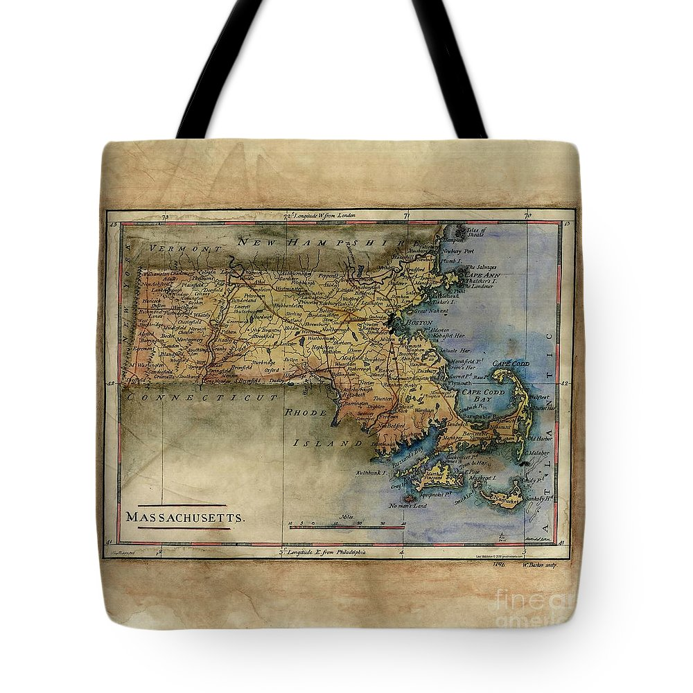 Historical Map Tote Bag featuring the painting Historical Map Hand Painted Massachussets by Lisa Middleton