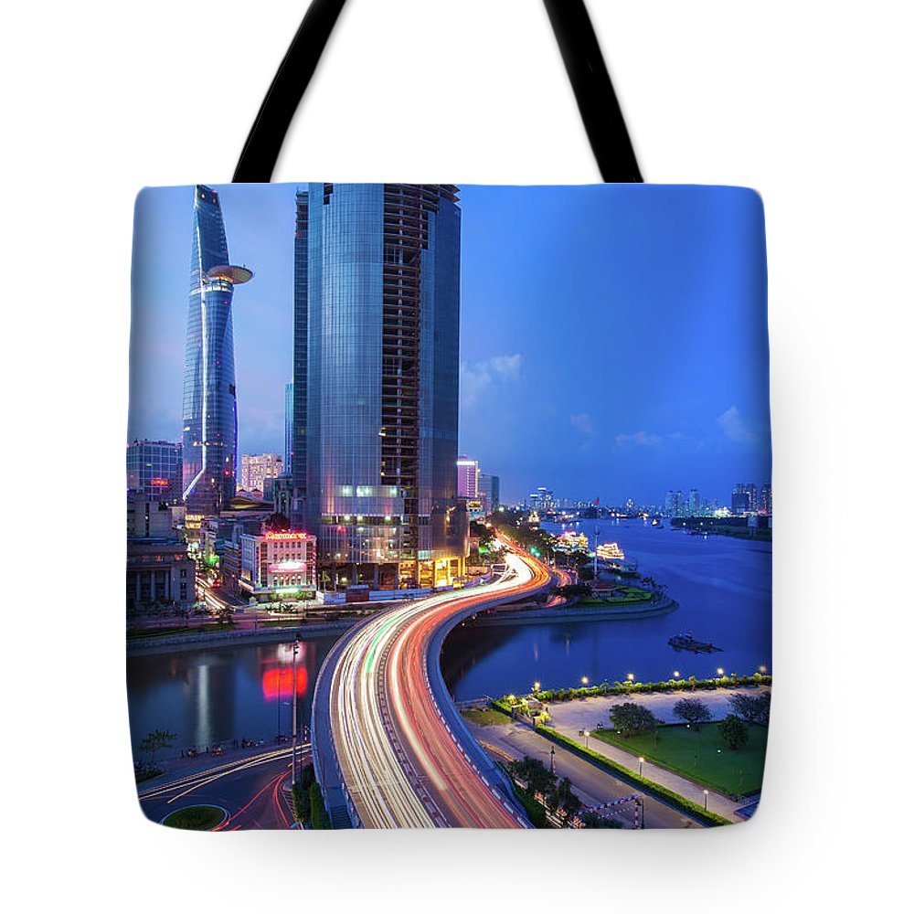 Ho Chi Minh City Tote Bag featuring the photograph Ho Chi Minh City At Night by Jethuynh