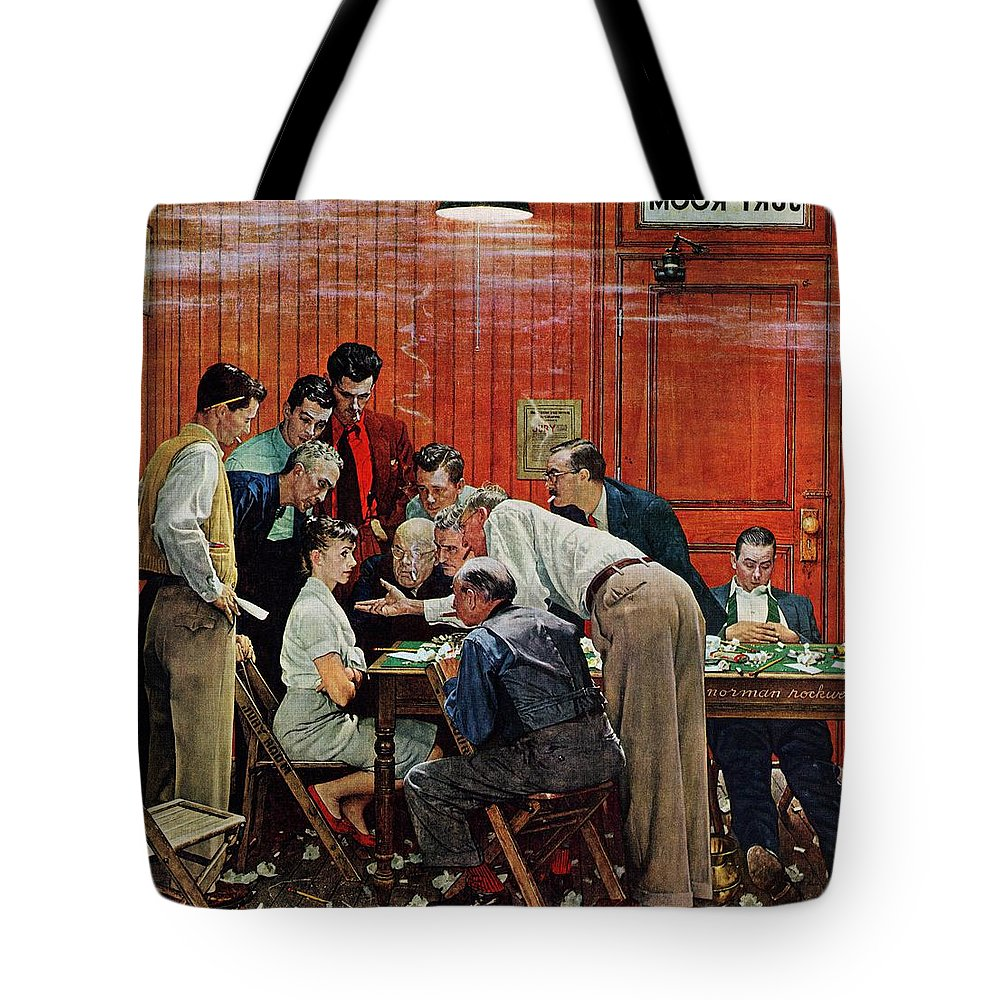 Courtroom Tote Bag featuring the drawing Holdout by Norman Rockwell