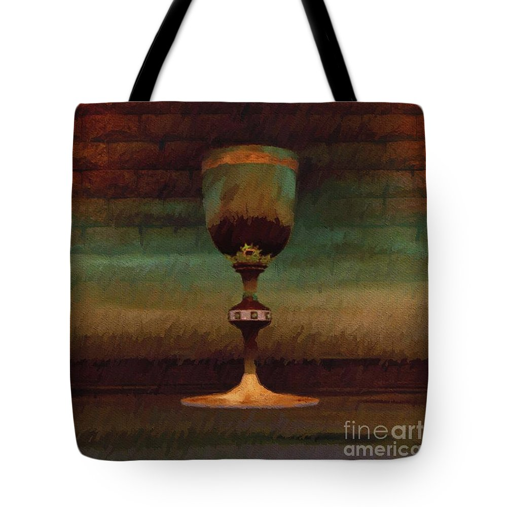 Holy Tote Bag featuring the painting Holy Grail by Esoterica Art Agency