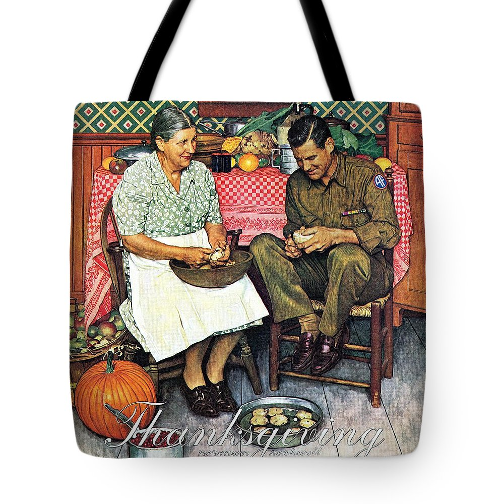 Kitchens Tote Bag featuring the drawing Home For Thanksgiving by Norman Rockwell