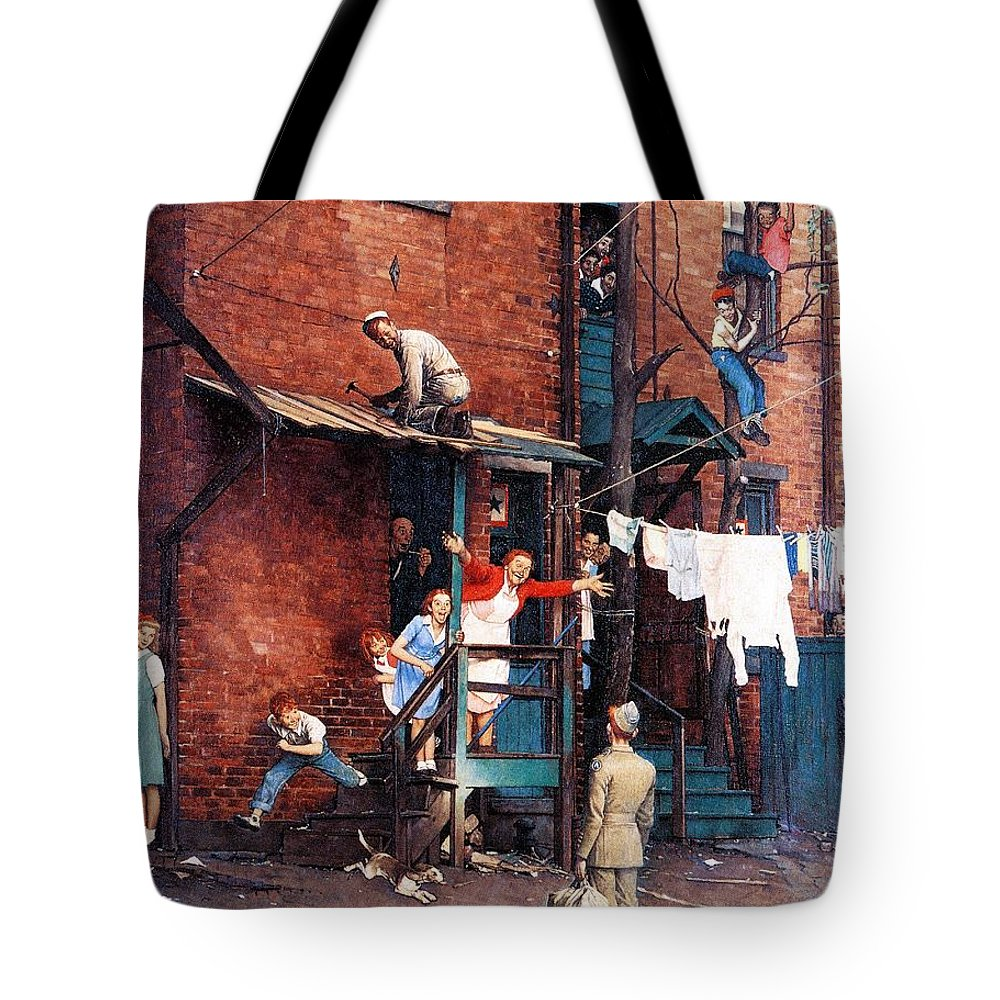 Alley Tote Bag featuring the drawing Homecoming G.i. by Norman Rockwell