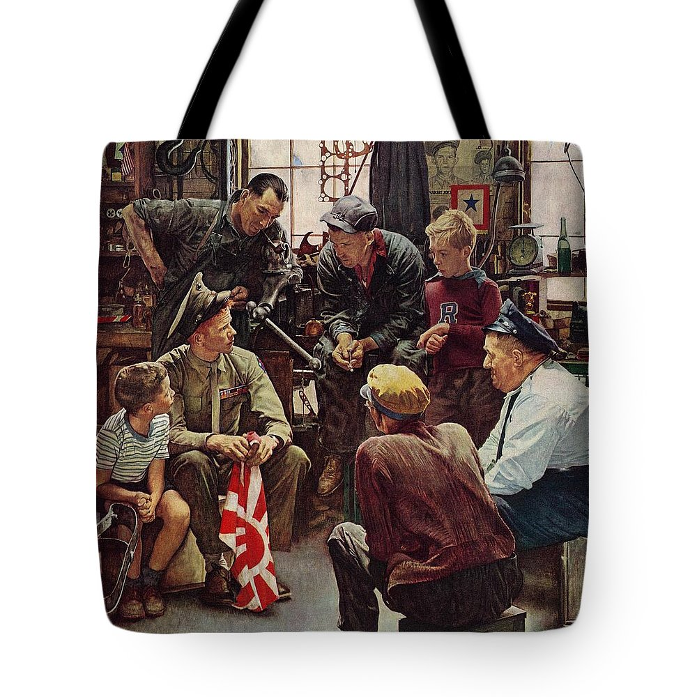 Flags Tote Bag featuring the drawing Homecoming Marine by Norman Rockwell