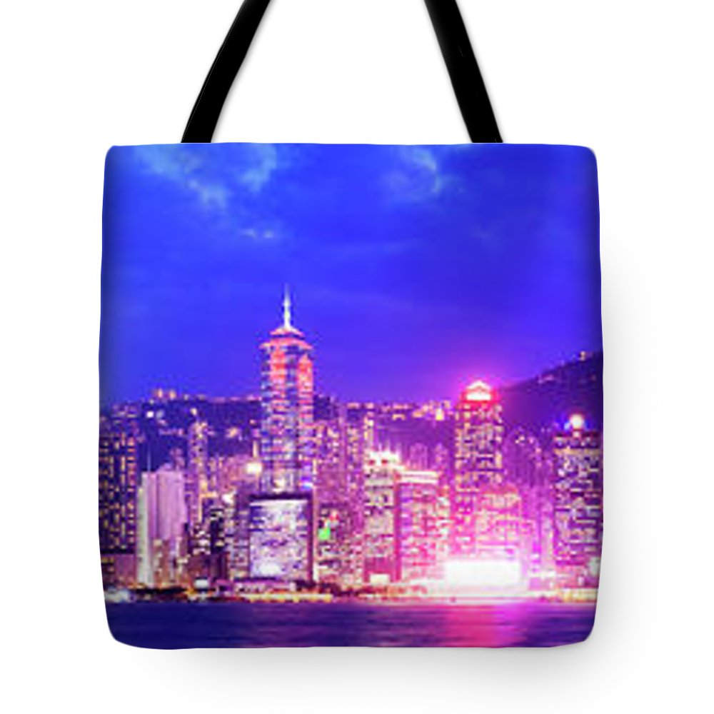 Downtown District Tote Bag featuring the photograph Hong Kong City Skyline In China by Deejpilot