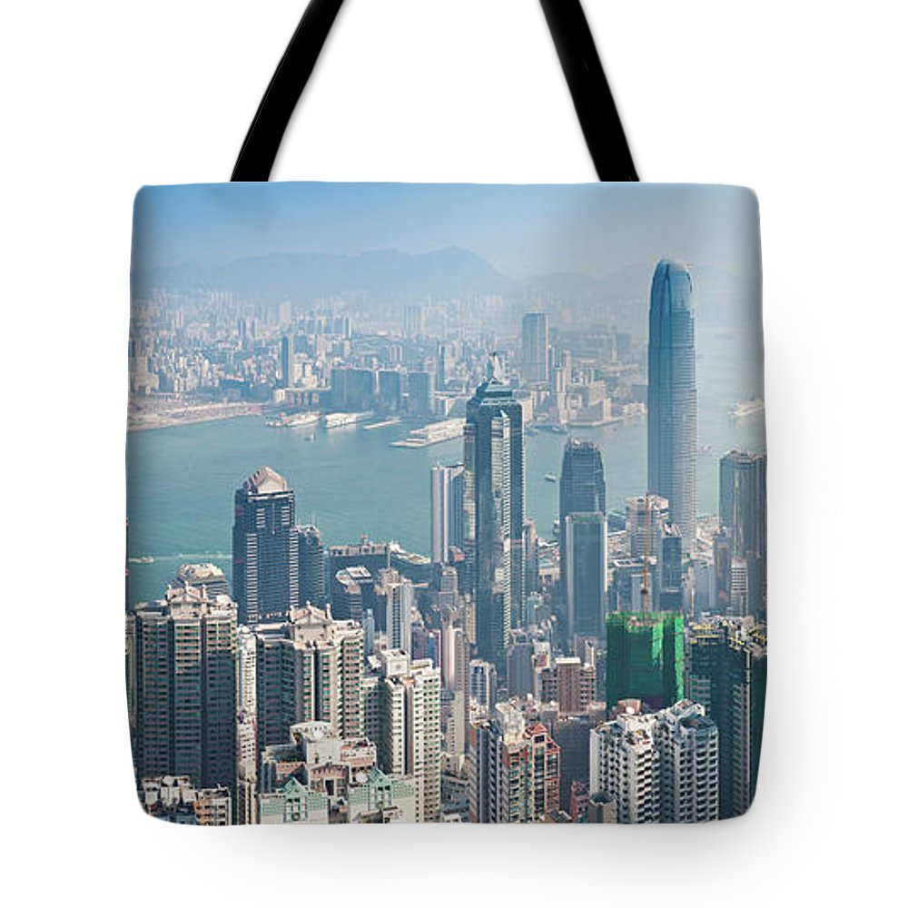 New Territories Tote Bag featuring the photograph Hong Kong Iconic Skyscraper City by Fotovoyager