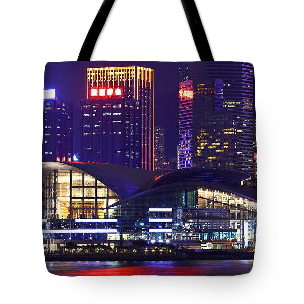 Corporate Business Tote Bag featuring the photograph Hong Kong Island At Night by Ngkaki