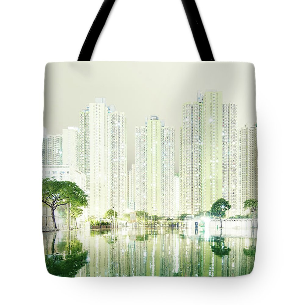 Tranquility Tote Bag featuring the photograph Hong Kong Skyline by Spreephoto.de