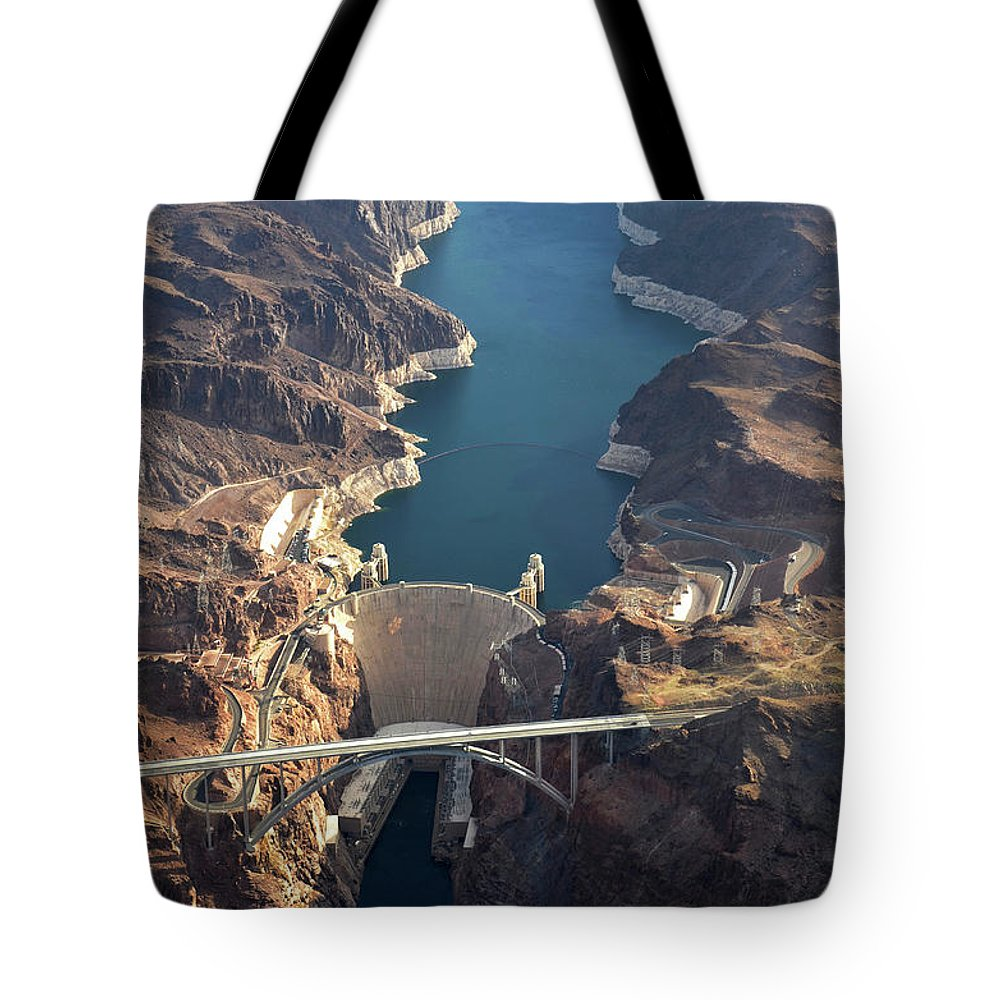 Scenics Tote Bag featuring the photograph Hoover Dam Aerial by Iwcrabbe