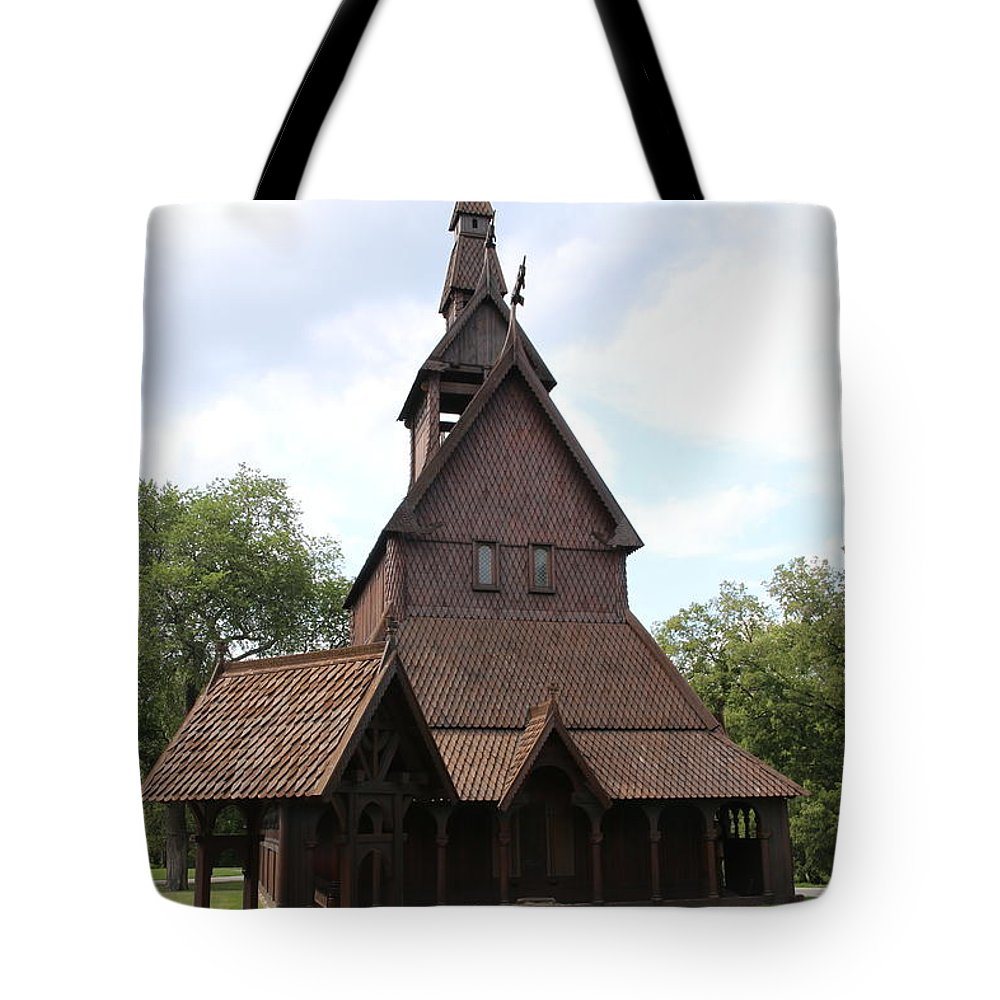 Hopperstad Tote Bag featuring the photograph Hopperstad Stave Church Replica by Laura Smith