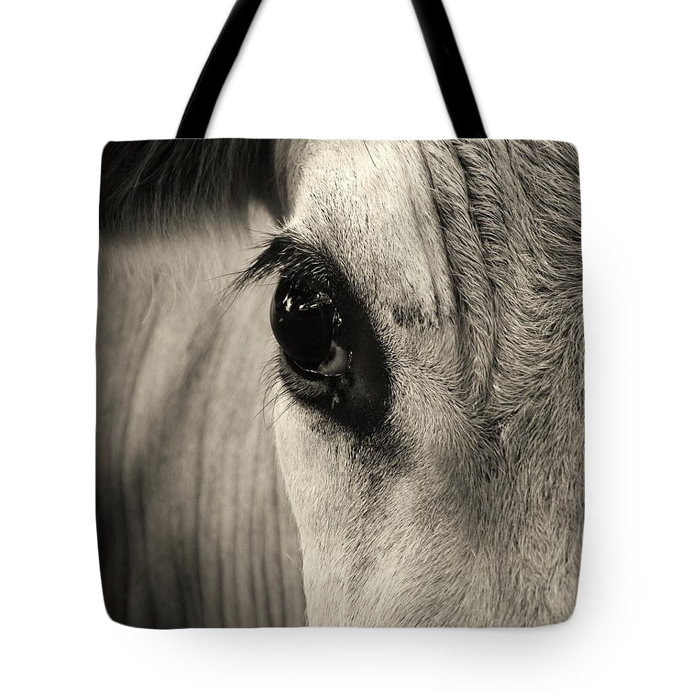 Horse Tote Bag featuring the photograph Horse Eye by Karena Goldfinch