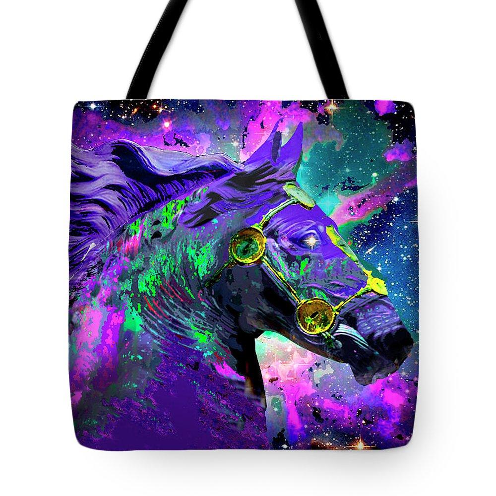 Tote Bag featuring the digital art Horse Head Nebula II by Rafael Serur