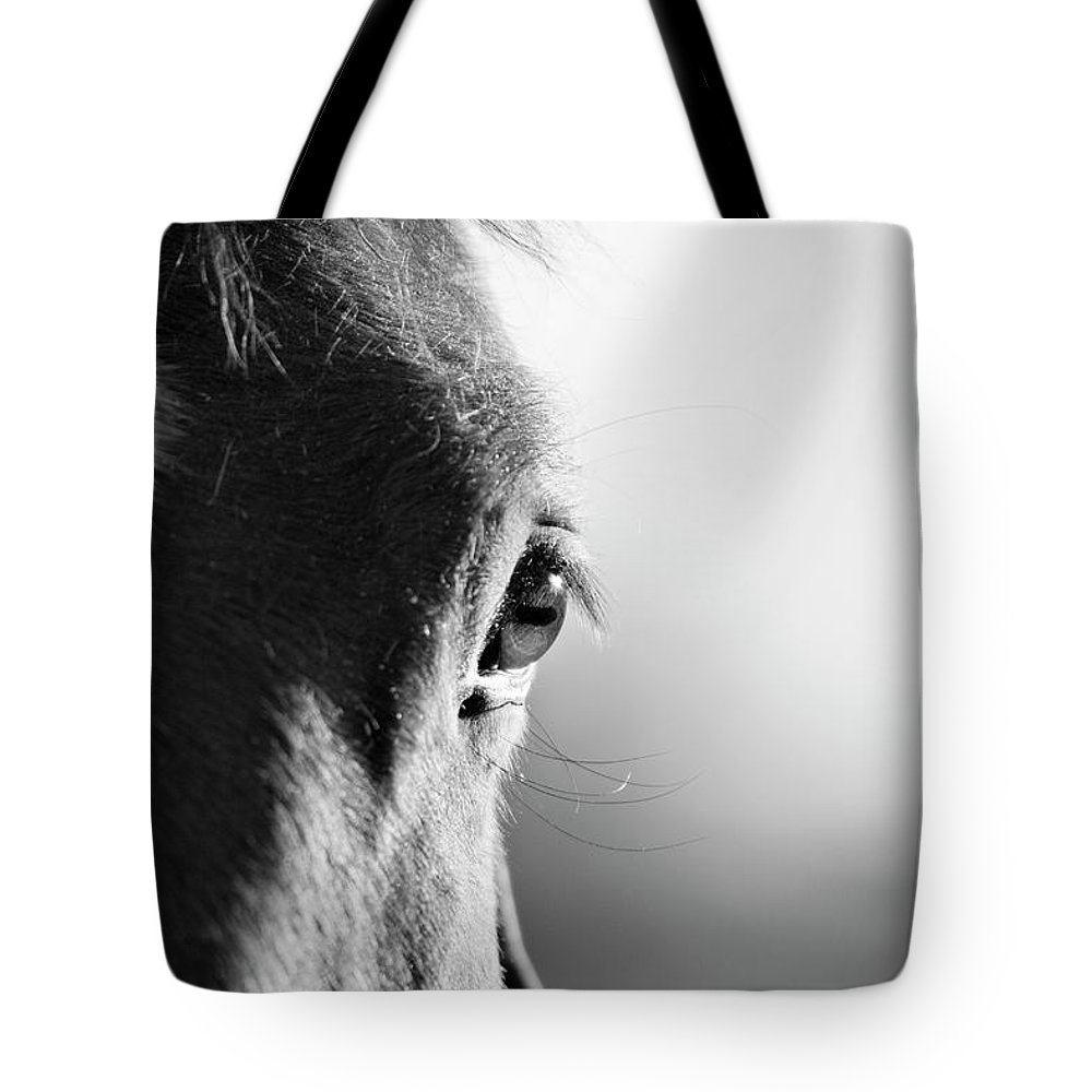 Horse Tote Bag featuring the photograph Horse In Black And White by Malcolm Macgregor