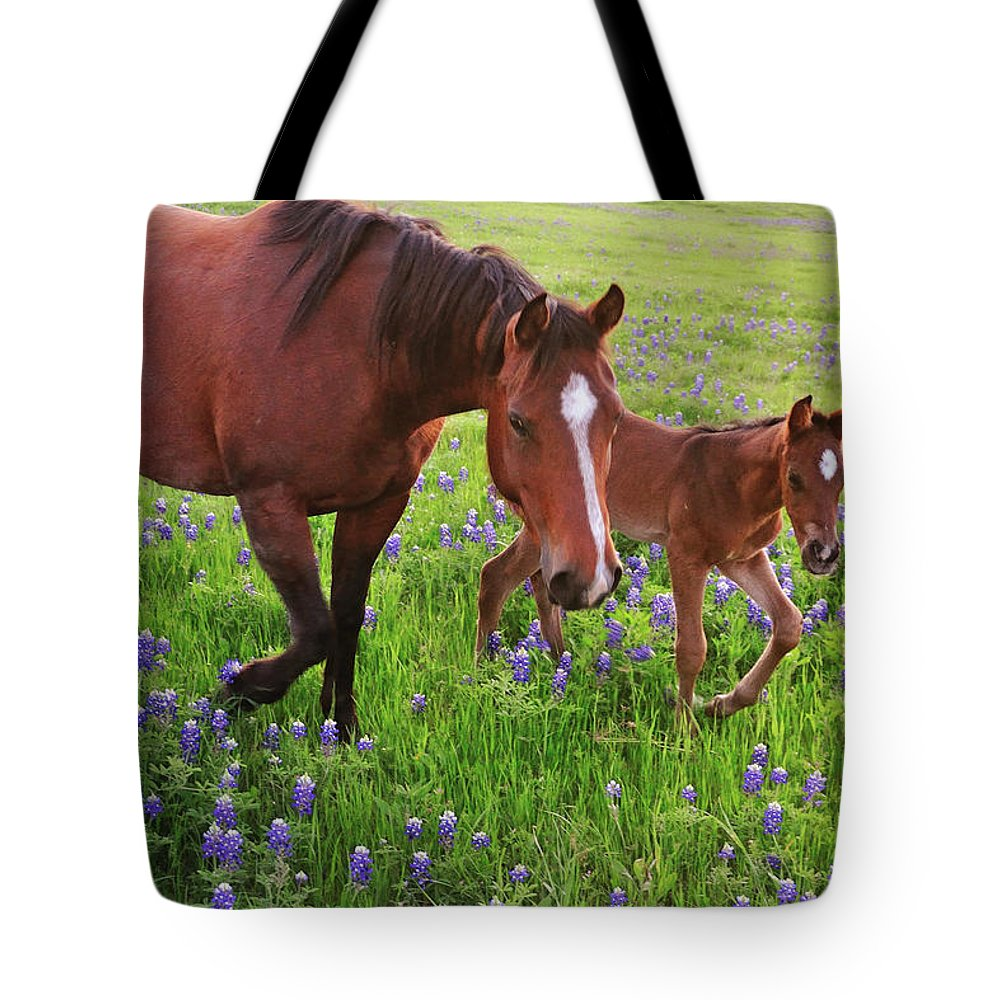 Horse Tote Bag featuring the photograph Horse On Bluebonnet Trail by David Hensley