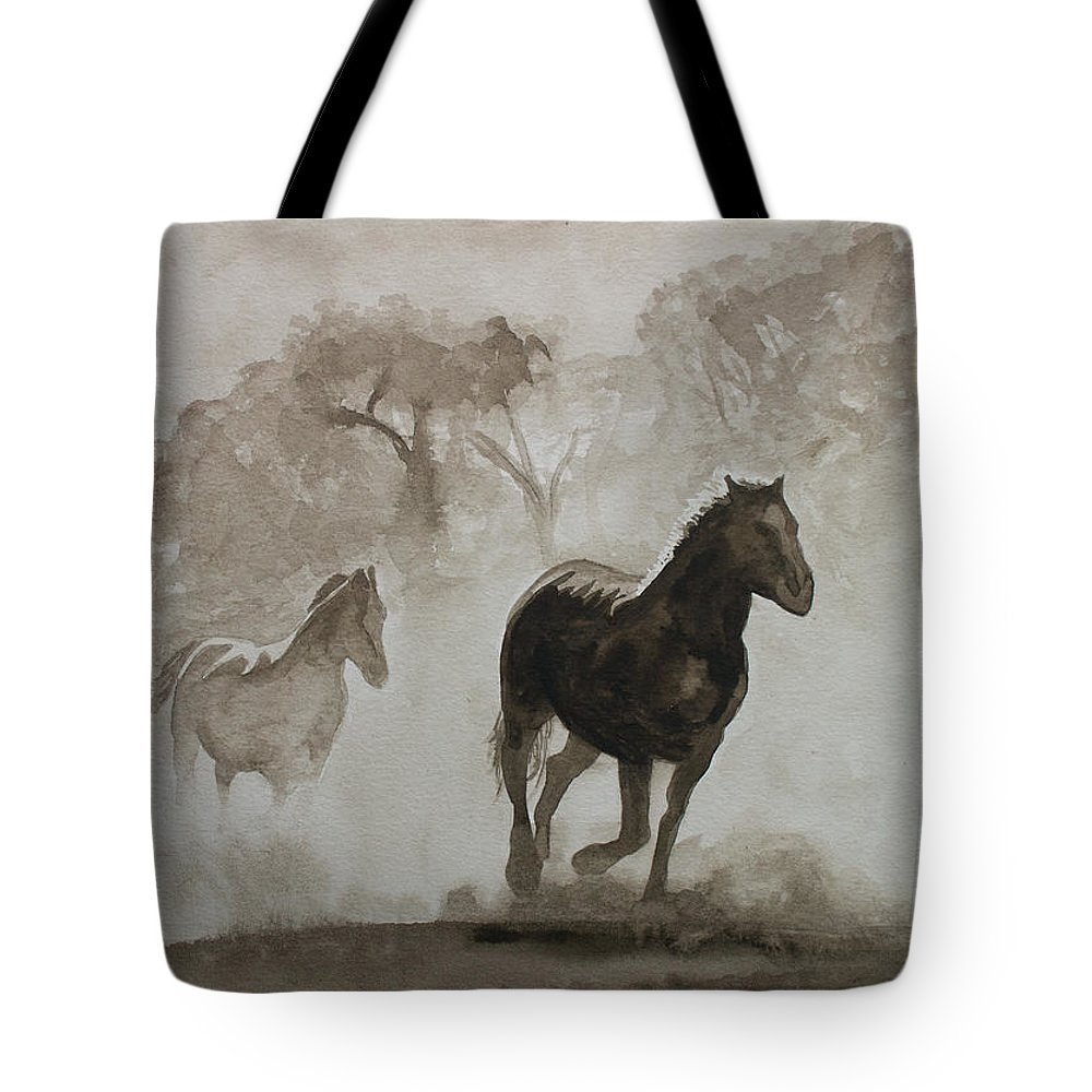 Horses Tote Bag featuring the painting Horses In The Mist by Raymond Ore