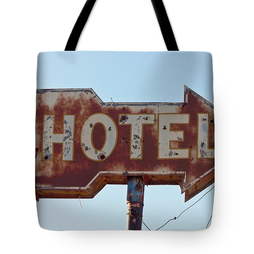 Hotel Tote Bag featuring the photograph Hotel Sign by Dhughes9