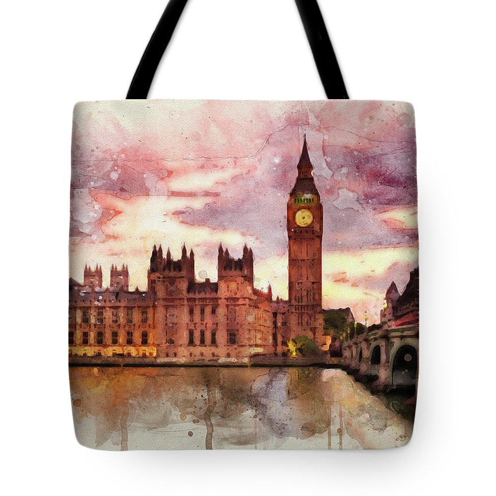 Parliament Mixed Media Tote Bags