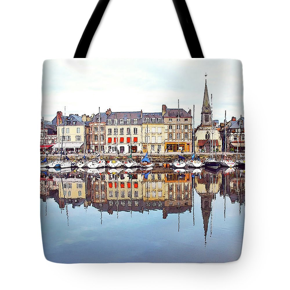 Tranquility Tote Bag featuring the photograph Houses Reflection In River, Honfleur by Ana Souza