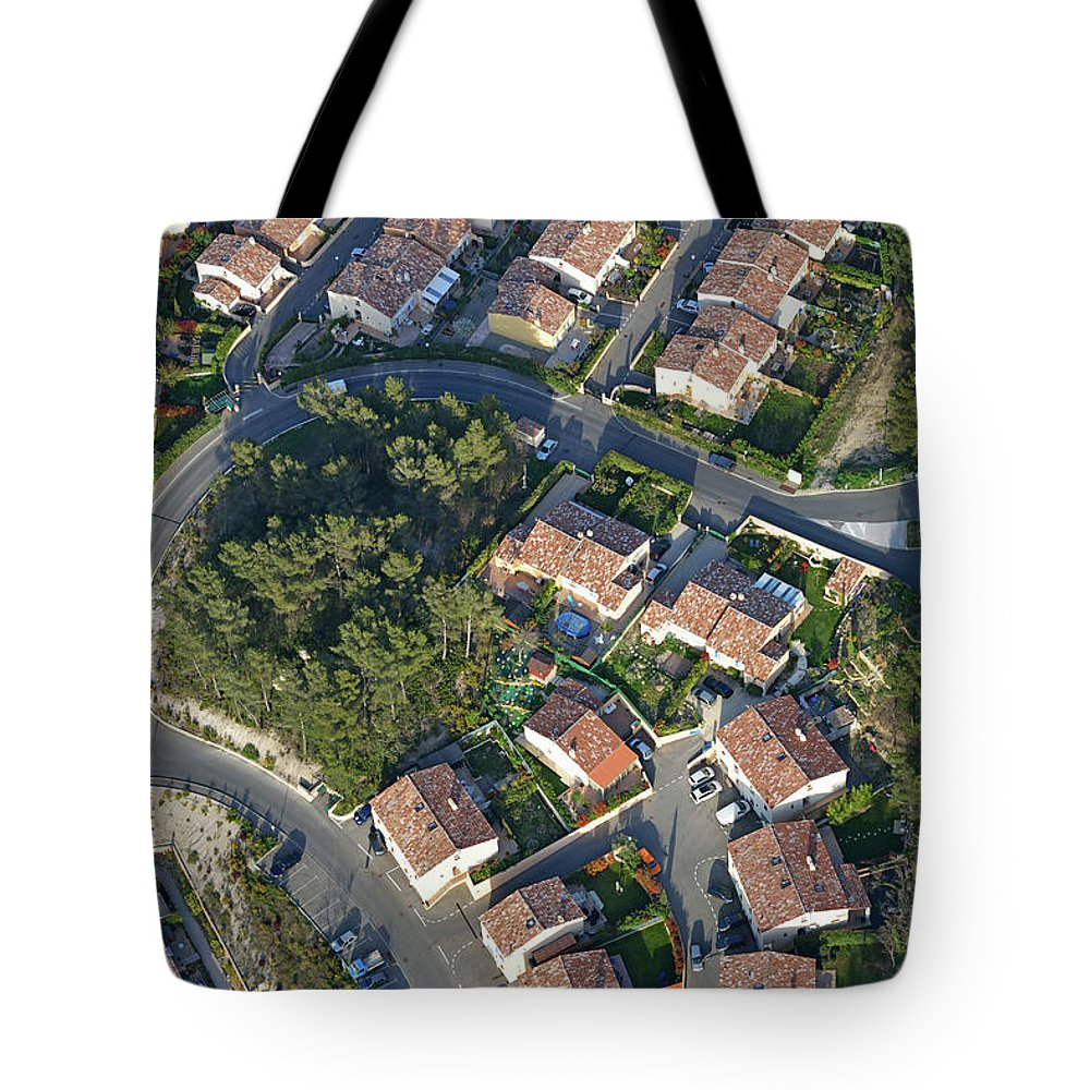 Tranquility Tote Bag featuring the photograph Housing Development, Peypin, Aerial View by Sami Sarkis
