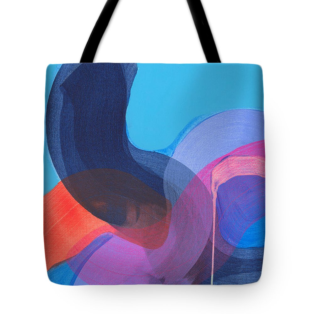 Abstract Tote Bag featuring the painting How Did It Get To Be So Late? by Claire Desjardins