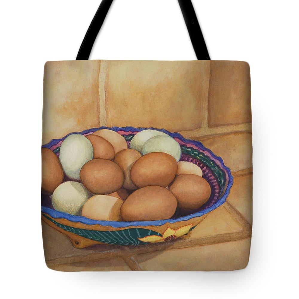Eggs Tote Bag featuring the painting Huevos Aracanas by Tara D Kemp