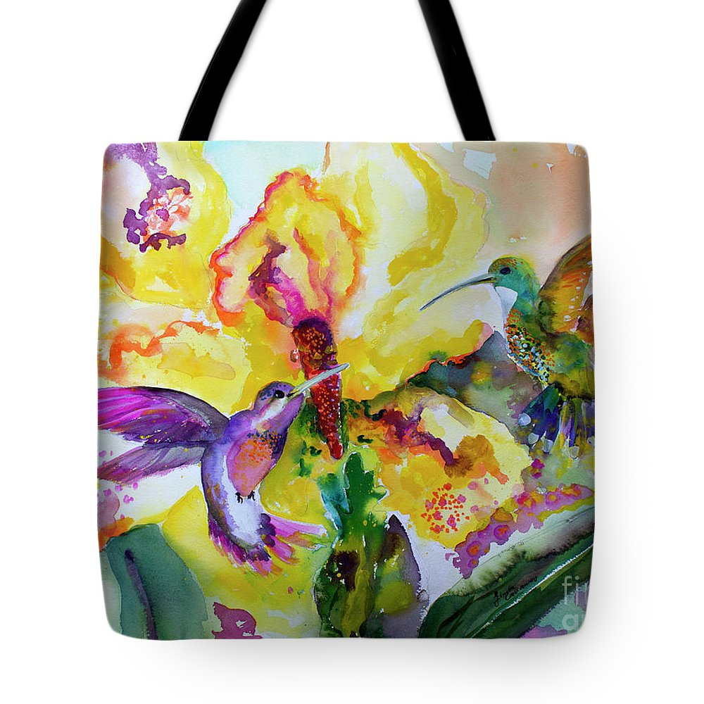 Hummingbirds Tote Bag featuring the painting Hummingbird Song Watercolor by Ginette Callaway