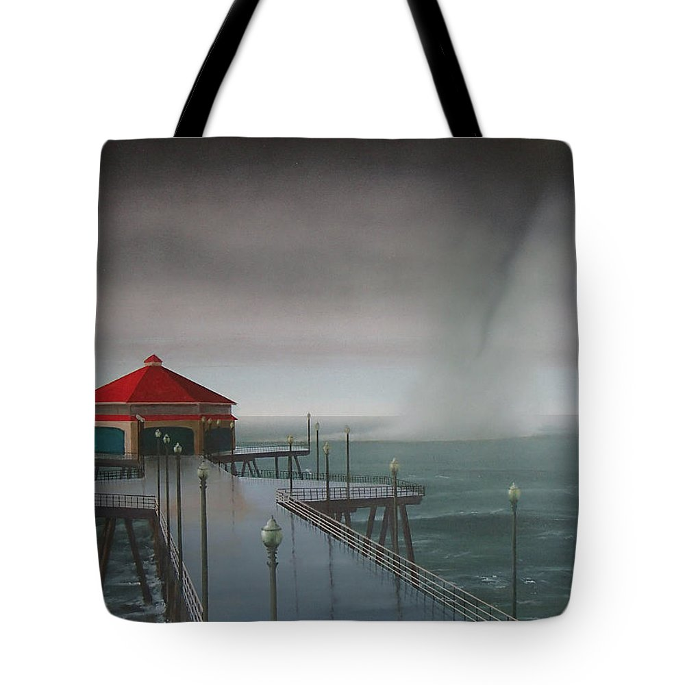 Huntington Beach Tote Bag featuring the painting Huntington Beach Pier waterspout by Philip Fleischer