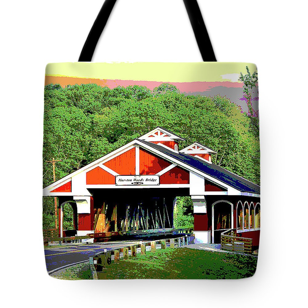 America Tote Bag featuring the mixed media Huseston Woods Bridge by Charles Shoup